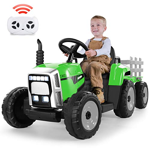 METAKOO Electric Tractor 12V 7Ah, Kids Ride on Tractor with Trailer, 2+1 Gear Shift, 7-LED Headlight, Horn Button/ MP3 Player/ Bluetooth/ USB Port/ Remote Control Toy Tractor for Kids 3+ years (Green)