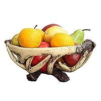 HIZLJJフルーツトレー カウンタートップ、現代の家庭装飾用のラウンドリビングルーム樹脂フルーツボウルフルーツバスケット