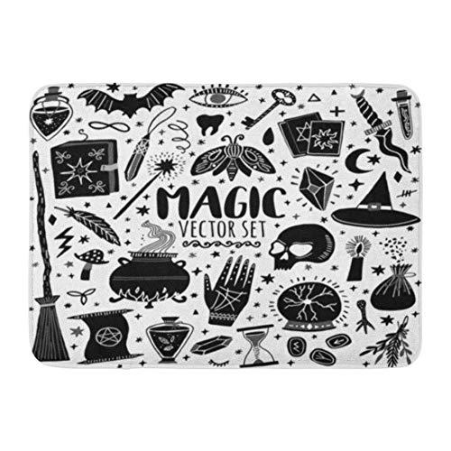 Felpudos Alfombras De Baño Outdoor/Estera de la Puerta Interior Bruja Magia Doodle Sketch Mago Brujería Símbolos Mago Poción Negro Baño Decoración Alfombra Alfombra de baño