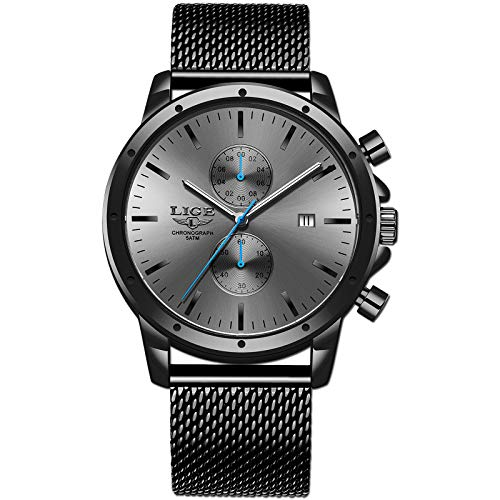 LIGE Herren Uhren Edelstahl Wasserdicht Analog Quarz Uhren Herren Militär Sport Chronograph Uhren