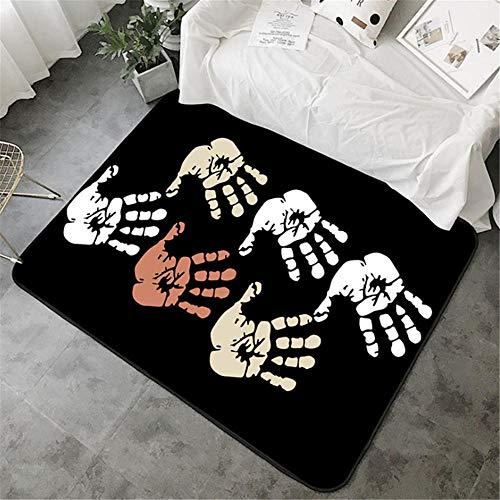 Xiaosua Not Deformed Rugs Fashion simple black palm print pattern living room carpet, children climbing carpet non-slip washable Sitting Roomes RugsBlack 200x300cm