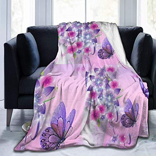 Crayo Decke Werfen,Bettwäsche Fleecedecke,Sakura Blumen Mit Lila Schmetterlingen Flanell Fleece Überwurfdecke Für C.Autsch Schlafsofa-Ultra Soft Anti-Static Für Alle Jahreszeiten