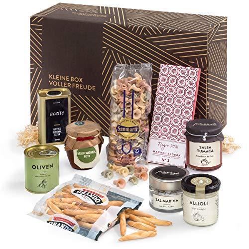 Köstliches aus dem Süden | Vegetarisches Schlemmerpaket mit mediterraner Feinkost, Olivenöl und Meersalz | Geschenkfertig verpackt in der Kleinen Box voller Freude