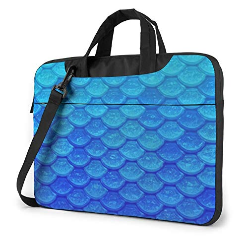 Laptop Case, Ocean Sea Blue Mermaid Fish Scale Print Laptop Shoulder Bags Multi-Functional Notebook Sleeve,13-14-15.6 Inch