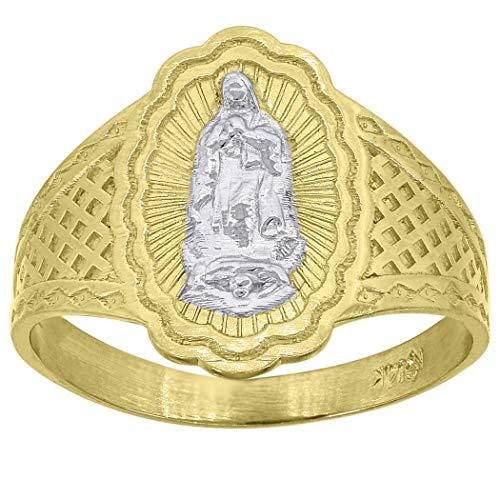 Anillo de oro de 14 quilates para mujer de dos tonos de Guadalupe Marry ovalado tamaño N 1/2 religioso