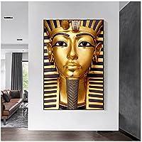 Lefgnmyi 古代エジプトのファラオのキャンバスの絵画のポスターとプリントツタンカーメンのリビングルームの装飾のための黄金色の壁の芸術-フレームなしで24x32