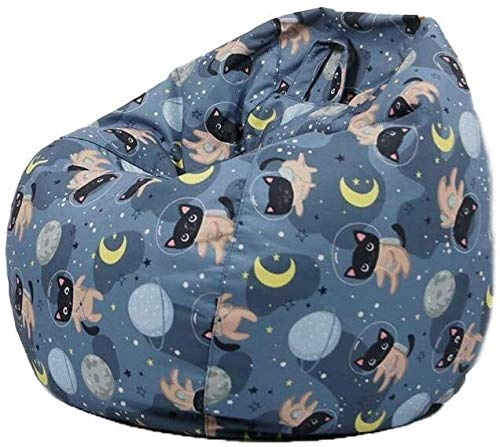 yxx Sitzsack Große Bohnenbeutel-Stuhl-Sofa-Couchabdeckung ohne Füllstoff-fauler Liege Hoher hinterer Buttersackstuhl mit DREI Seitentaschen for Erwachsene und Kinder (Color : Cat, Size : 60cm*65cm)