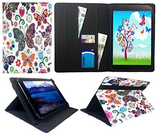 Archos 101 Platinum 3G Tablet / Diamond Tab ( 2017 ) 10.1 zoll Multi Butterfly Universal Wallet Hülle Cover Folio ( 10 - 11 zoll ) von Sweet Tech