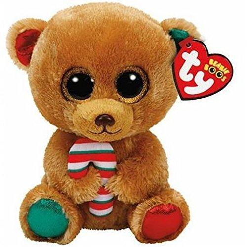 TY Bear 37251 Bella-Bär mit Zuckerstange, 24cm, mit Glitzeraugen, Beanie Boo's, X-Mas limitiert, Mehrfarbig