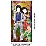 70 Jahre Tanzen Party Dekoration 70 Jahre Foto Tür Banner Hintergrund Requisiten, Große Foto Hintergrund für 70 Jahre Thema Party Dekor Disco Thema Party Lieferungen mit Seilen - 6