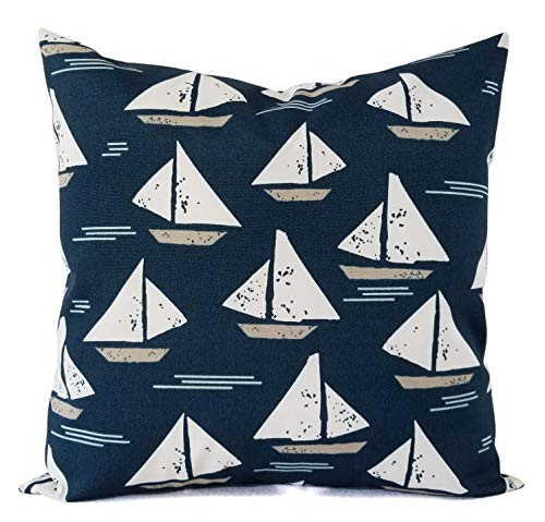 Fundas de almohada para exteriores, color azul marino y blanco, funda de almohada azul marino – almohada de marinero – almohada de velero – almohada de patio yate