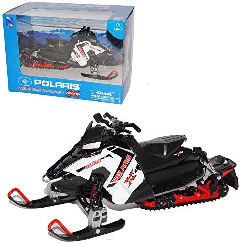 New Ray Polaris 800 Schwitchback Pro Schneemobil Ski DOO Weiss 1/16 Modell Motorrad mit individiuellem Wunschkennzeichen