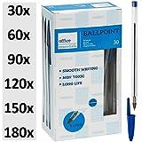 Kugelschreiber blau 30 Stück | Markenqualität | Ballpointmiene | Schreibfarbe blau - Stift Ballpoint Schreibgerät Bürobedarf | 30-180 Stück |