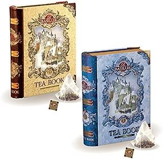 Basilur   Mini Tea Books Vol. 1 & 2   Pyramid Tea Bags   100% Pure Ceylon Tea   5 Luxury Leaf Pyramid Sachets Per Tin   Holiday and Christmas Gifts   Pack of 2