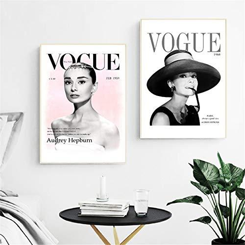 Rjjwai Audrey Hepburn Moda Quadri E Stampe Su Tela Immagini Per Pareti Riviste Di Riviste Di Moda Arte Pittura Immagine Stanza Per Ragazze Decorazioni Per La Casa 2 Pezzi Camera Da Letto