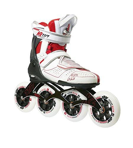 K2 Sports Mod 110 - Patines en línea (Patines en línea para carreras, Patines de velocidad, Adulto, Unisex, Rojo, Blanco, Imagen)