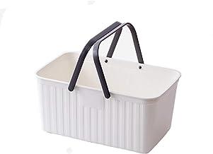 JQZLXXZL Female Cute Bath Basket Toiletries Toiletries Portable Bath Basket Bathroom Shower Basket Blue Bathtub Storage Box Dormitory (Color : White)