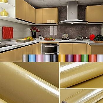 Liveinu - Papel pintado autoadhesivo de color liso para armario de cocina de PVC, impermeable, para pared, para decoración de dormitorio, salón o muebles, amarillo, ISA-GXSM-1182-11-2: Amazon.es: Bricolaje y herramientas