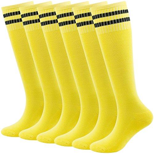 Fasoar Calcetines de fútbol para jóvenes Teens hasta la rodilla calcetines largos de fútbol a rayas para rugby 2/6/10 pares -  Amarillo -  talla única