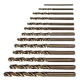 Juego de brocas, broca helicoidal que contiene cobalto, herramienta de taladro para carpintería, 13 piezas de herramientas manuales, duraderas para perforar, acero inoxidable, aleación de
