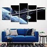 lijuan store 5 Panneau Mur Art Artisanat Salon Chambre Maison Chambre d'enfants Peinture décorative 75 CM Star Trek Aviation Chambre UFO Paysage
