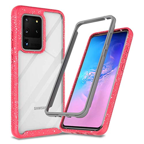 JanCalm Galaxy S20 Ultra Case,Clear Defender Rugged Shockproof Series TPU Bumper Hybrid Hard Front Frame Protection Cover for Samsung Galaxy S20 Ultra Case Without Built-in Screen Protector (Pink)