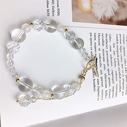 Fengshui Natural curación Pulsera de Cristal 7a Afortunado Encanto Balance múltiples Gema Pulsera de Fresa Cuarzo joyería joyería Amuleto atrae Dinero Prosperidad Suerte,Blanco