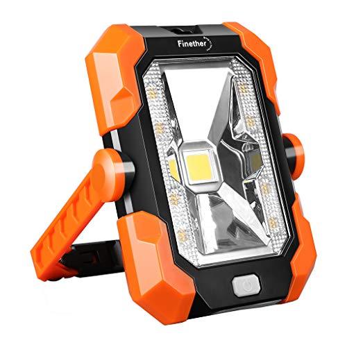 Lampada da Lavoro LED Portabile Finether Luce da Lavoro Ricaricabile, Pannello Solare, USB Faretto Led da Cantiere Impermeabile IP64, 4 Tipi di Illuminazione Maniglia Regolabile e Magnetica