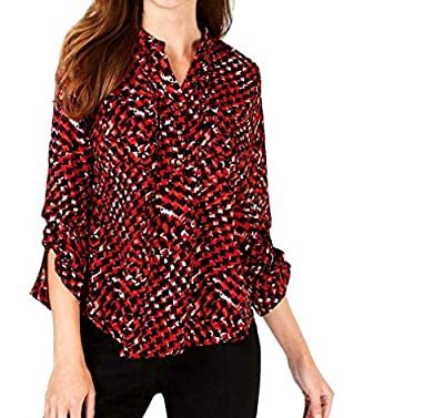 NY Collection Womens Petites Printed Cuffed Henley Top Red PM