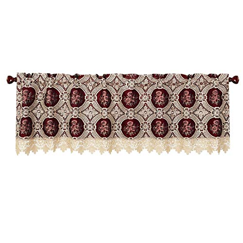 Simhomsen Lace Window Blackout Lined Valance Curtain, 1 Piece, W 72 × L 17 Inch, Vintage Look, Custom Order