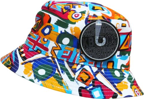 Floral Galaxy Leaf Aztec Tropical Print Bucket Hat Summer Boonie Cap (One Size, 008 Aztec - White)