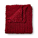 Giant Chunky Knit Blanket - Super Soft Thick Chunky Yarn - Warm and Cozy Stylish Throw for Home Décor - Braided Pattern - Decorative Throw - Hypoallergenic - 50x60 by Wildflower Blue… (Crimson Red)