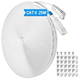 Cable Ethernet Cat6, Exterior Impermeable Al Aire Libre Cable De Red Plano 25 Metros, Rj45 Network Cable Gigabit Blanco Lan Alta Velocidad Cable De ConexióN A Internet De 250mhz, 25 Clips Gratis