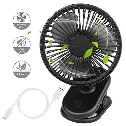 USB-ventilator, stille tafelventilator, ventilator met 2800 mAh oplaadbare batterij, 3 instelbare snelheden, 360 graden draaibaar, voor kinderwagen, slaapkamer, thuis, kantoor, bibliotheek (zwart)