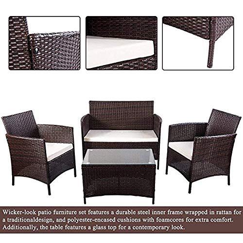 Merax 4 PCS Patio Rattan Furniture Set Cushioned Outdoor Garden Wicker Rattan furniture with Beige Cushion (Brown-NO.2)