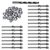 Muzata Hand Swage Threaded Stud Tension End Fitting Terminal 20Pack and 30 Degree Angle Be...