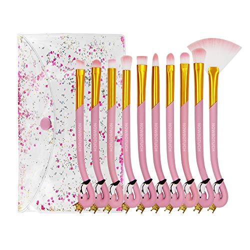 NOWBOTUCH 10PCS Pinceles de maquillaje Flamingo para principiantes Starter Kids Set de...