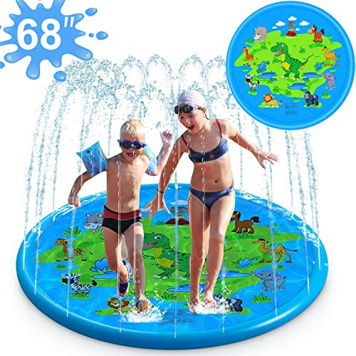"iGeeKid 3-in-1 Splash Pad Sprinkler for Kids, 68"" Splash Play Mat, Best Slip n Slide for Toddlers Boys Girls, Outdoor Water Toys Inflatable Kiddie Pool Splash Mat for Backyard, Fun for Kids Aged 3+"