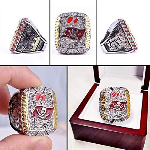 Anillo de campeonato del Super Bowl 2021, anillo conmemorativo de los Buccaneers del Super Bowl de Tampa Bay, aficionados de los Buccaneers, aficionados de Tampa Bay, con caja (8#)