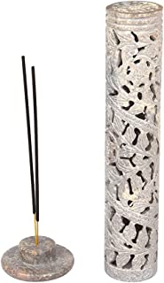 Aheli Exquisitely Floral Carved Soapstone Incense Stick Holder Tower Handcrafted Home Fragrance Accessory