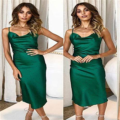 WLXFVNYBD Frauen Lady Casual Homewear Sommer Langes Seidenkleid Bodycon Solid Straps Slip Sommerkleid Casual Babydoll Kleidung-Farbe3_M.
