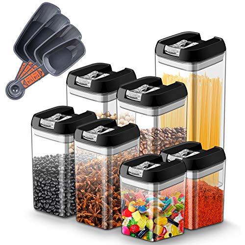 Myguru Set di Contenitori Alimenti Barattoli Plastica Contenitore Ermetico con Coperchio Conservazione Cibi Spaghetti, caffè, Farina, Cereali Senza BPA - (1,9L; 1,2L; 0,8L; 0,5L) 7 Pezzi con misurino