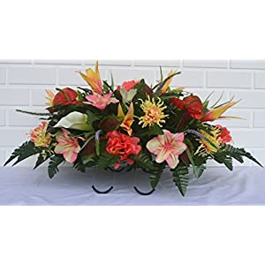 3124 Mothers Day Cemetery Saddle, Beautiful Spring Cemetery Arrangement, Headstone Saddle, Grave, Tombstone Arrangement, Cemetery Flowers