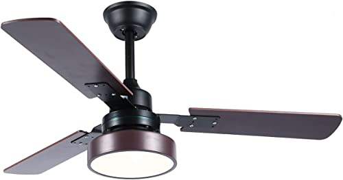 lowest PASUTO 52 Inch Wood Ceiling Fan with discount Light, Indoor/Outdoor 3 Blade Ceiling Fans with LED Light and Remote Control online sale (Brown) sale