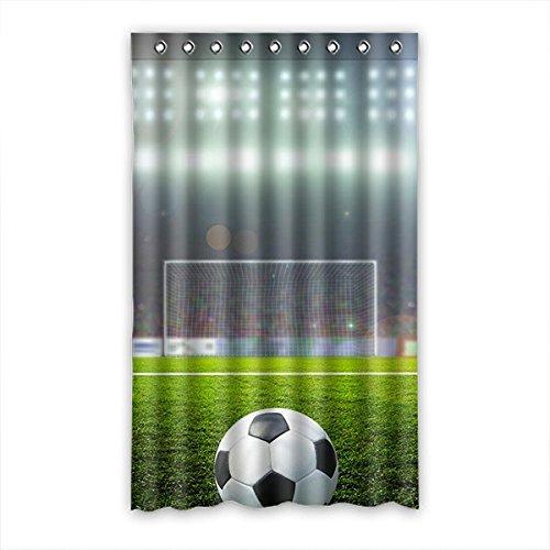 Doubee Custom Fussball Soccer Vorhänge Polyester Schiebevorhang Gardinen 132cm x 213cm (1 Stück)