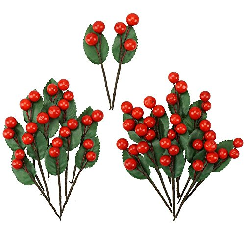 Shxstore Artificial Red Holly Leaves Berry Picks Stems Fake Winter Christmas Berries Decor For DIY Garland And Holiday Wreath Ornaments, 24 Branch