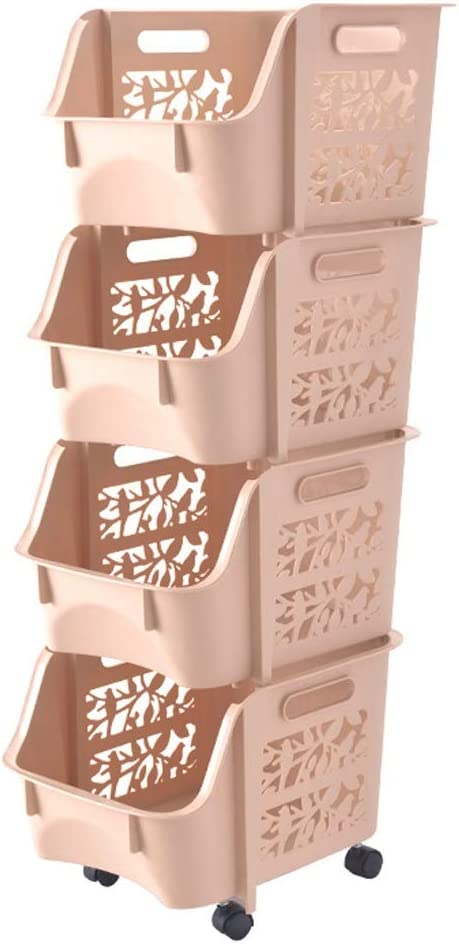 Storage Basket Standing Shelf Hollow Wheel Bargain sale Superimposable Narrow SEAL limited product