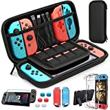 HEYSTOP Custodia Switch, Switch Cover Trasparente con HD Switch Pellicole Protettive e Thumb Grips per Nintendo Switch Console Accessori