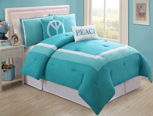 VCNY Hotel Juvi Comforter Set, 4-Piece,Twin, Turquoise Peace