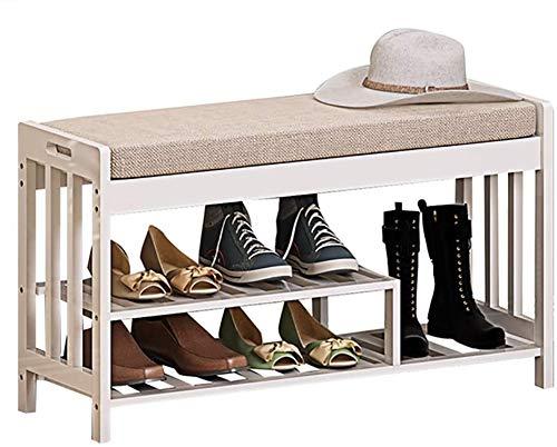Familie Eenvoudige en praktische schoenen Schoenenkast Schoenenkast Standing opbergtas met 4 paar eenvoudige en praktische schoenen Bamboe kruk met ladekast Kleine voorwerpen Entree Corridor Schoen Bo